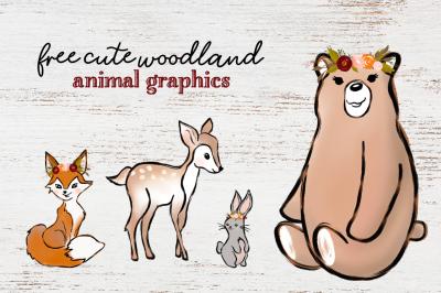 FREE Cute Woodland Animal Graphics