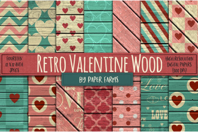 FREE Retro Valentine Wood Background