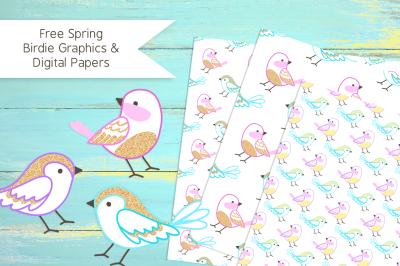 Free Spring Birdie Graphics & Digital Papers
