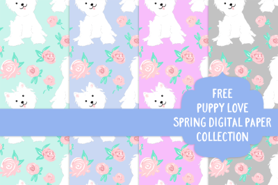 FREE Puppy Love: Spring Digital Paper Colelction