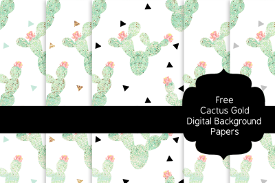 FREE Cactus Gold Digital Background Papers
