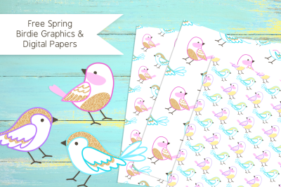 FREE Spring Birdie Graphics & Digital Papers