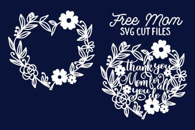 FREE SVG Cut File: Mom Floral Wreath