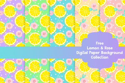 FREE  Lemon and Rose: Digital Paper Background
