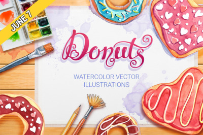 FREE Watercolor Donuts