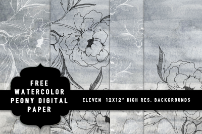 FREE Watercolor Peony Digital Paper
