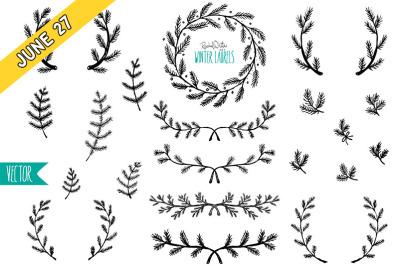 FREE Winter Laurels Vectors