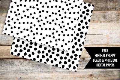FREE Minimal Preppy Black and White Dot Digital Paper