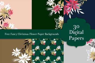 FREE Fancy Christmas Flower Paper Backgrounds