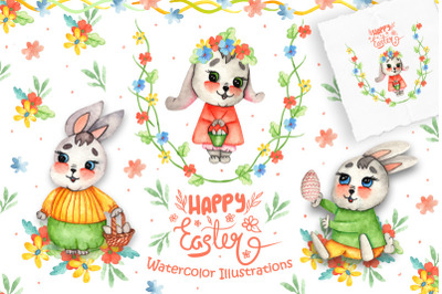 FREE Happy Easter Watercolor Illustrations