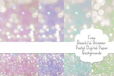 FREE Beautiful Shimmer Pastel Digital Paper Backgrounds