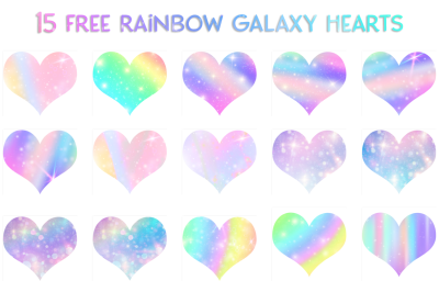 FREE 15 Rainbow Galaxy Hearts