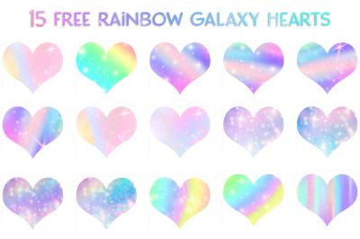 FREE 15 Rainbow Galaxy Hearts