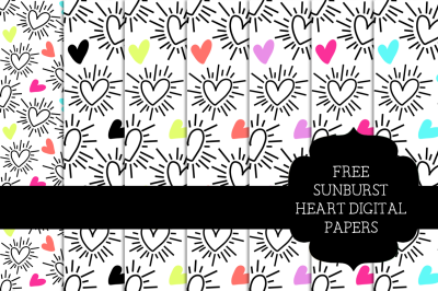 FREE Sunburst Heart Digital Papers