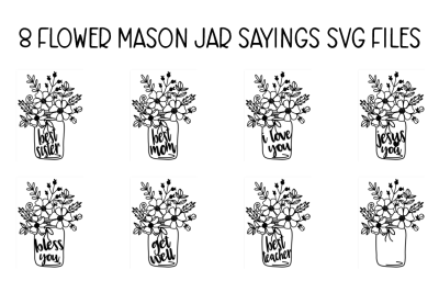 FREE Flower Mason Jar SVG Files
