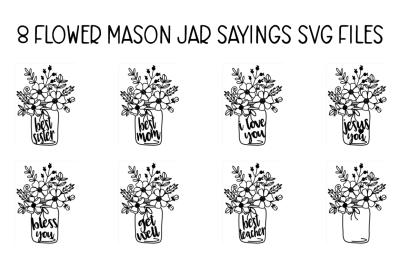 FREE SVG Cut File: Floral Mason Jar