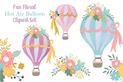 FREE Floral Hot Air Balloon Clipart Set