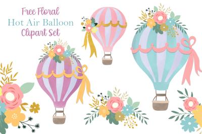 FREE Floral Hot Air Balloon Clipart Set