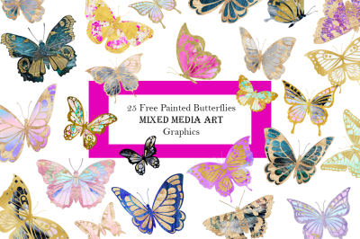 FREE  Mixed Media Painted Butterflies