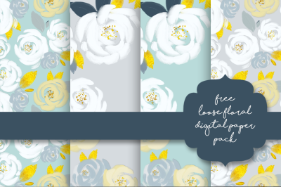 FREE Mint Gold Loose Floral Digital Paper-Pack
