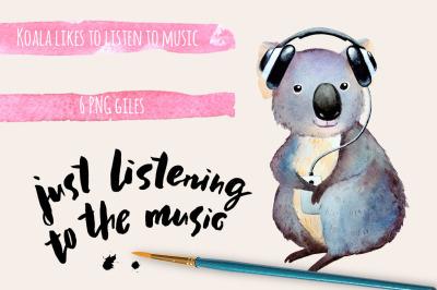 FREE Watercolor Koala Clipart