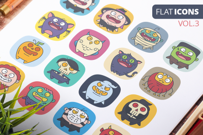 FREE Cute Flat Halloween Characters Vol.3