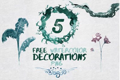 FREE 5 Watercolor Decorations and Elements