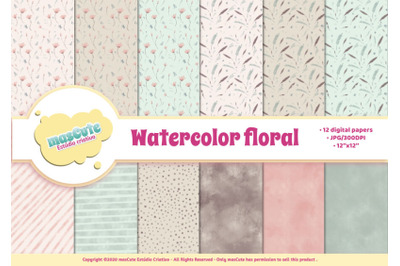 FREE Digital Paper Pack - Watercolor Floral