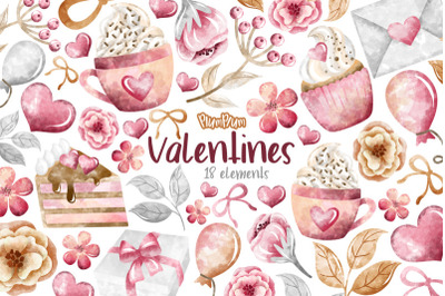 FREE Valentines Watercolor Cliparts