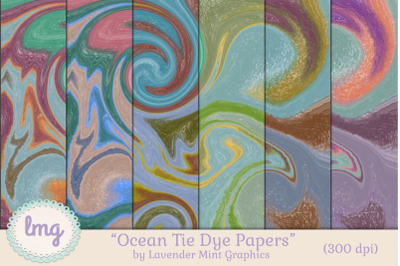 FREE Digital Scrapbooking Ocean Tie Dye Papers
