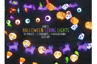 FREE Watercolor Halloween String Lights Clipart
