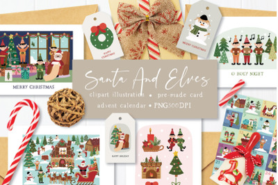 FREE Santa and Elves Clipart Illustrations