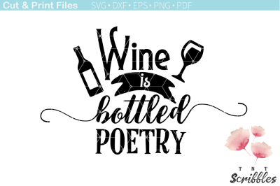 Free SVG Cut File: Wine is Bottled Poetry
