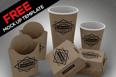 Free Mock Up Template fast food branding and packaging