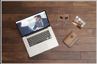 FREE Macbook Pro Wooden Table Mockup