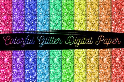 FREE Colorful Glitter Digital Paper