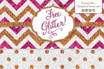 6x Glitter Paper
