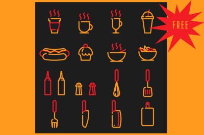 FREE Icons set for cafe and street food