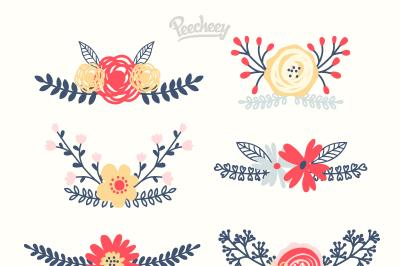 6x Floral Elements