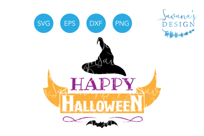 Free SVG File: Happy Halloween SVG, Halloween SVG, Witch Hat SVG, Bat SVG, Halloween Clipart, Halloween EPS, Halloween DXF, Halloween PNG