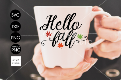Free SVG File: Hello Fall, Fall SVG File, DXF and PNG File