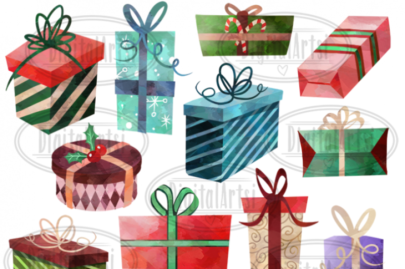 Christmas Gift Clipart Free.Free Watercolor Christmas Gifts Clipart By Thehungryjpeg
