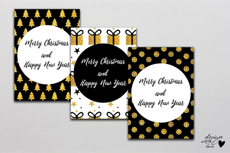 Free Christmas Card Set Merry Christmas And Happy New Year By
