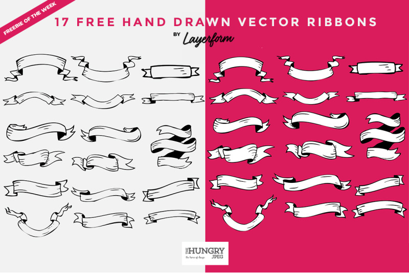 Free Hand Drawn Vector Ribbons By TheHungryJPEG