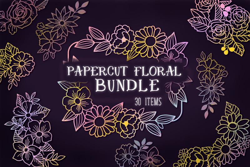 FREE Papercut Floral Bundle By TheHungryJPEG