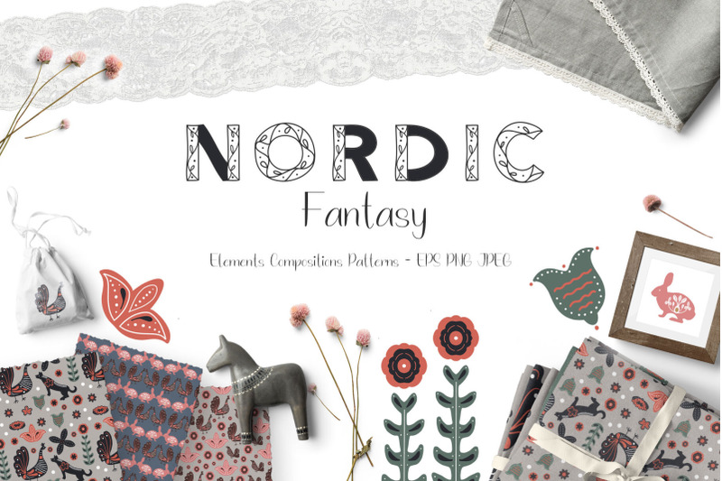 The Hungry JPEG Nordic Fantasy Folk Art Collection for Free