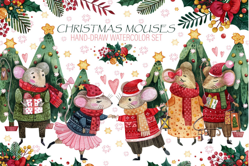 Christmas Mouse Watercolor Collection for Free