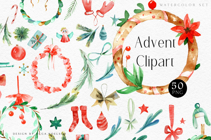 Watercolor Christmas Advent Cliparts