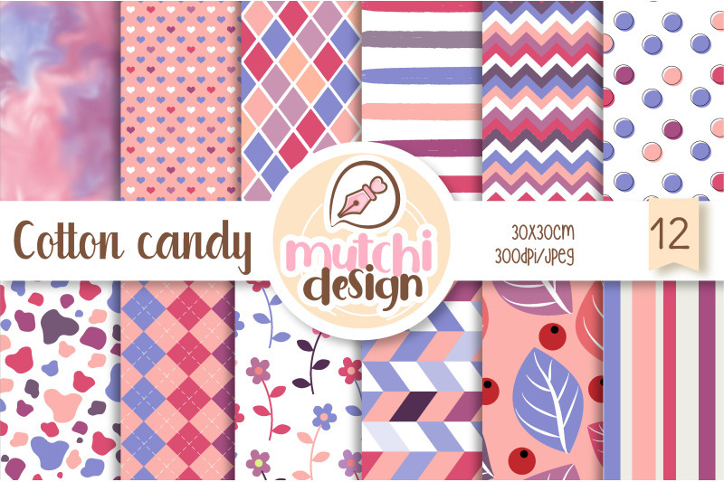 FREE Cotton Candy Digital Papers By TheHungryJPEG