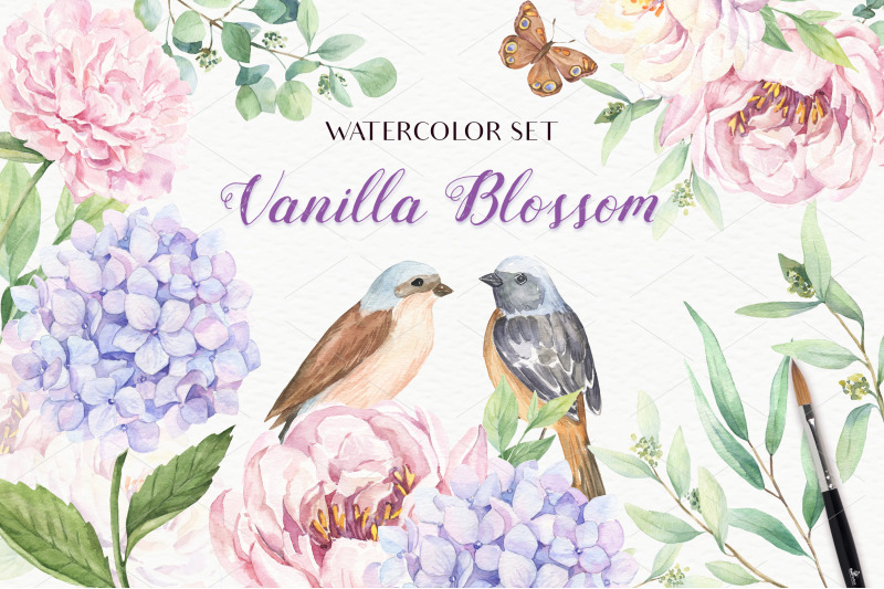 FREE Vanilla Blossom - Watercolor Set By TheHungryJPEG